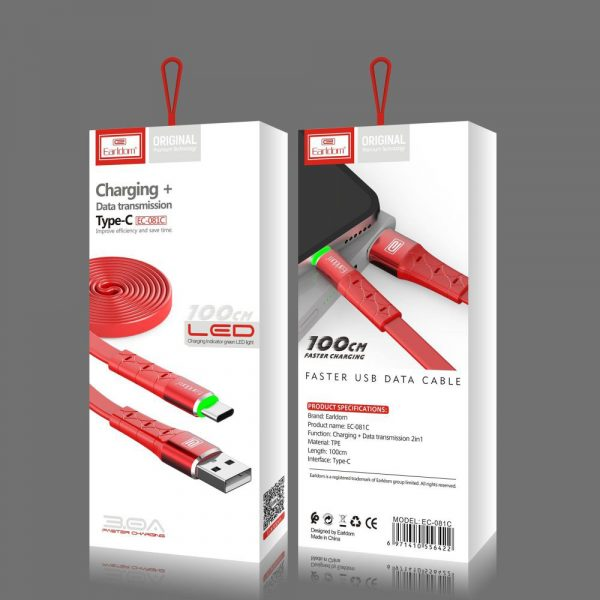 LED type c data charging cable 100cm